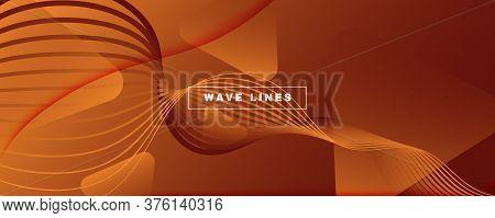 Wave Fluid Flow. Yellow Gradient Background. 3d Abstract Shape. Technology Brochure. Orange Fluid Fl