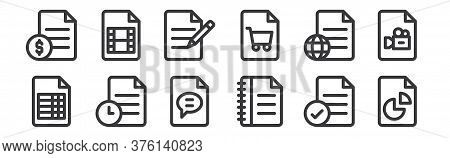 12 Set Of Linear Document And Files Icons. Thin Outline Icons Such As Analytics, File, File, File, M