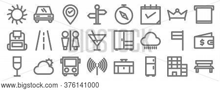 Holiday Line Icons. Linear Set. Quality Vector Line Set Such As Bench, Refrigerator, , Drink, Flag,