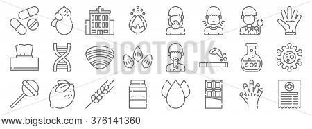 Allergies Line Icons. Linear Set. Quality Vector Line Set Such As Medical Prescription, Chocolate, M