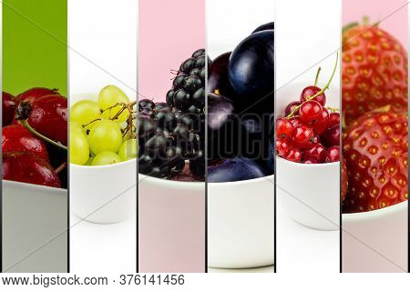 Collection Of Fruit In White Ceramic Bowls On Multicolor Background Isolated, Cherry, Grape, Plum, S