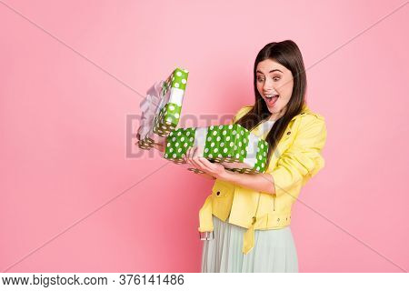 Profile Photo Of Funny Charming Lady Hold Hands Large Green Giftbox Opening It Overjoyed Open Mouth