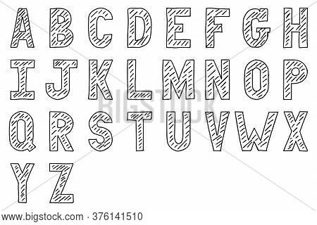 Black Color Hand Drawing Of Uppercase English Alphabet Letter On White Background