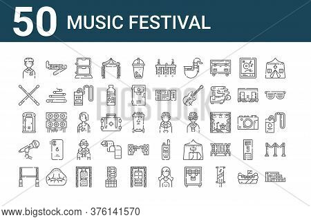 Set Of 50 Music Festival Icons. Outline Thin Line Icons Such As Grandstand, Big Screen, Microphone,