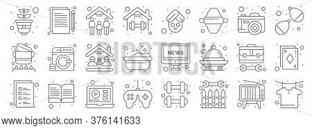 Stay At Home Line Icons. Linear Set. Quality Vector Line Set Such As Tshirt, Boundary, Game Controll