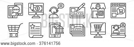 12 Set Of Linear Shopping Line Icons Icons. Thin Outline Icons Such As Online Support, Cit Card, Wis