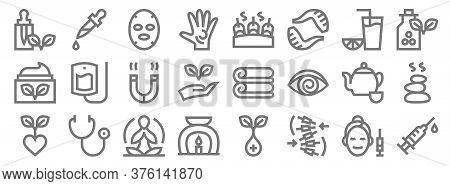 Alternative Medicine Line Icons. Linear Set. Quality Vector Line Set Such As Syringe, Massage, Aroma