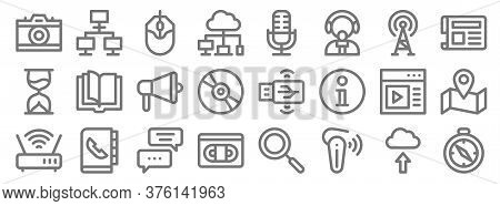 Communication And Media Line Icons. Linear Set. Quality Vector Line Set Such As Compass, Handset, Vh