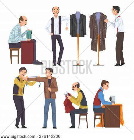 Male Dressmaker Creating And Sewing Clothes Set, Clothing Designer Tailor Working At Atelier Vector