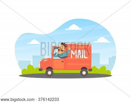 Deliveryman Delivering Parcels And Letters At Post Office Cargo Vehicle Vector Illustration