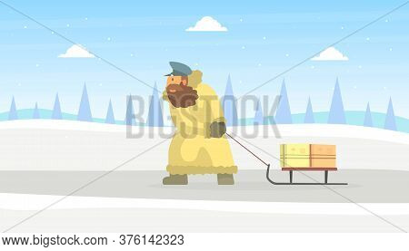 Postman Wearing Sheepskin Coat Delivering Mail On Sled On Beautiful Winter Landscape Vector Illustra