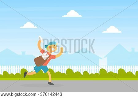 Smiling Boy Courier With Mailbag Delivering Newspapers, Courier Running On Summer Landscape Vector I
