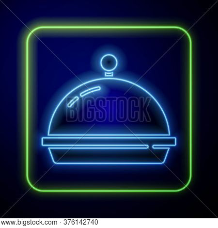 Glowing Neon Covered With A Tray Of Food Icon Isolated On Blue Background. Tray And Lid. Restaurant