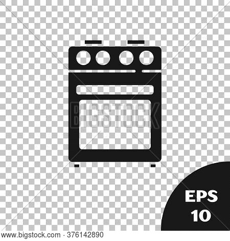 Black Oven Icon Isolated On Transparent Background. Stove Gas Oven Sign. Vector