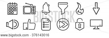 12 Set Of Linear Ricon Icons. Thin Outline Icons Such As Television, Next Button, Like, Fire, Notifi