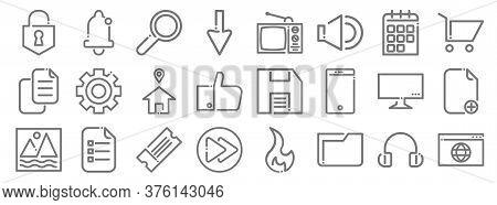Ricon Line Icons. Linear Set. Quality Vector Line Set Such As Website, Folder, Next Button, Image, T