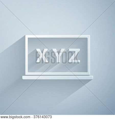 Paper Cut Xyz Coordinate System On Chalkboard Icon Isolated On Grey Background. Xyz Axis For Graph S