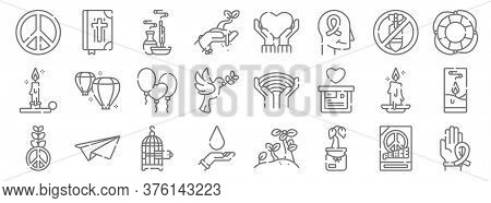 Hope Line Icons. Linear Set. Quality Vector Line Set Such As Ribbon, Sprout, Blood Donation, Peace,