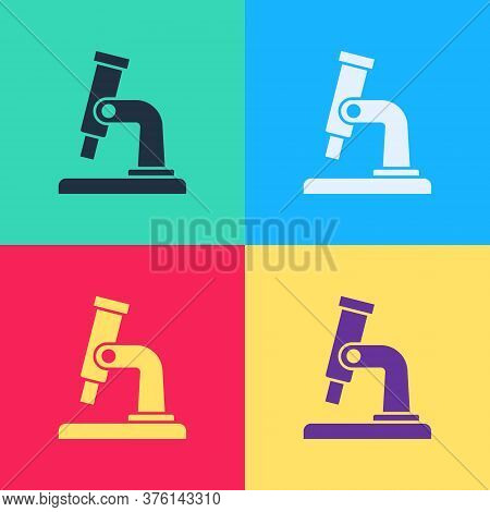 Pop Art Microscope Icon Isolated On Color Background. Chemistry, Pharmaceutical Instrument, Microbio
