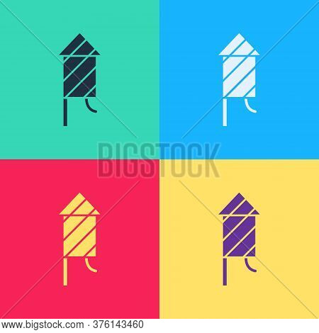 Pop Art Firework Rocket Icon Isolated On Color Background. Concept Of Fun Party. Explosive Pyrotechn