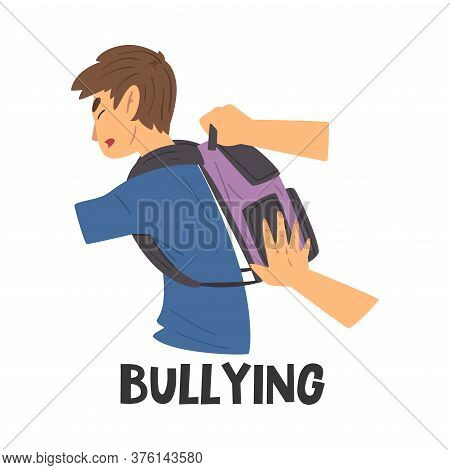 Bullying Teen Problem, Teenager In Stressful Situation Vector Illustration
