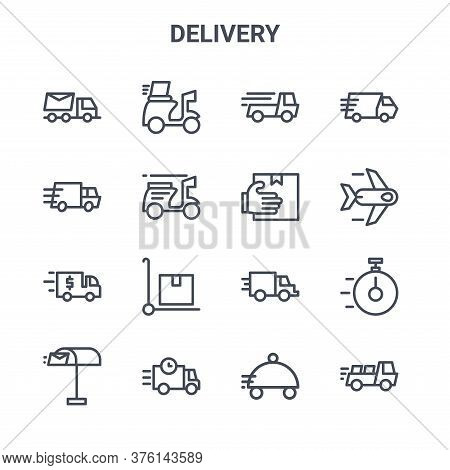 Set Of 16 Delivery Concept Vector Line Icons. 64x64 Thin Stroke Icons Such As Scooter, Truck, Plane,