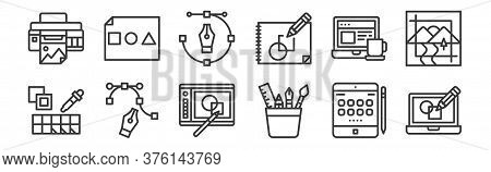 12 Set Of Linear Graphic Design Icons. Thin Outline Icons Such As De, Graphic Tool, , Working, Pen T
