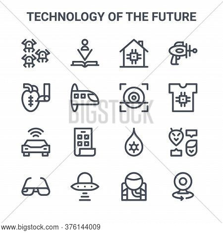 Set Of 16 Technology Of The Future Concept Vector Line Icons. 64x64 Thin Stroke Icons Such As Book,