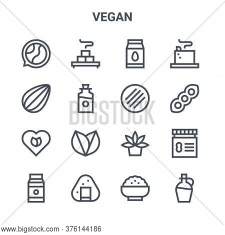 Set Of 16 Vegan Concept Vector Line Icons. 64x64 Thin Stroke Icons Such As Tofu, Almond, Soy, Agave,