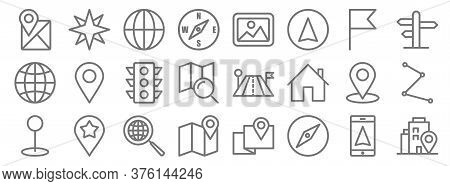Navigation Line Icons. Linear Set. Quality Vector Line Set Such As Adress, Compass, Location, Pin, L