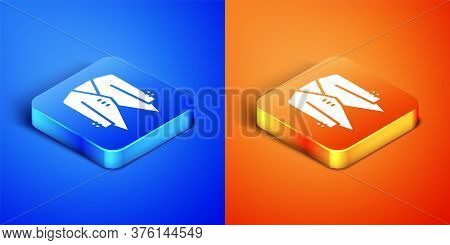 Isometric Suit Icon Isolated On Blue And Orange Background. Tuxedo. Wedding Suits With Necktie. Squa