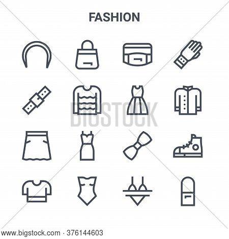 Set Of 16 Fashion Concept Vector Line Icons. 64x64 Thin Stroke Icons Such As Handbag, Belt, Coat, Bo