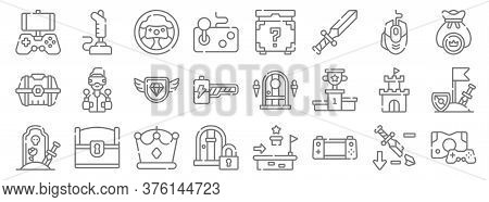 Videogame Line Icons. Linear Set. Quality Vector Line Set Such As Game Console, Handheld Console, Lo