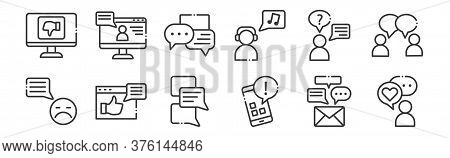 12 Set Of Linear Chatting And Communication Icons. Thin Outline Icons Such As Good Comment, Smartpho