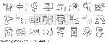 Chatting And Communication Line Icons. Linear Set. Quality Vector Line Set Such As Chat, Smartphone,