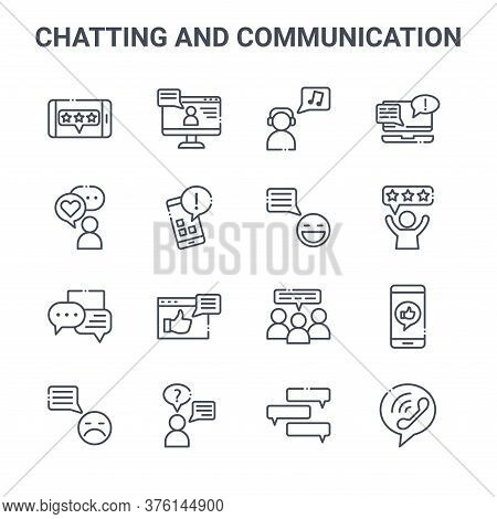 Set Of 16 Chatting And Communication Concept Vector Line Icons. 64x64 Thin Stroke Icons Such As Comp