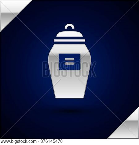 Silver Funeral Urn Icon Isolated On Dark Blue Background. Cremation And Burial Containers, Columbari