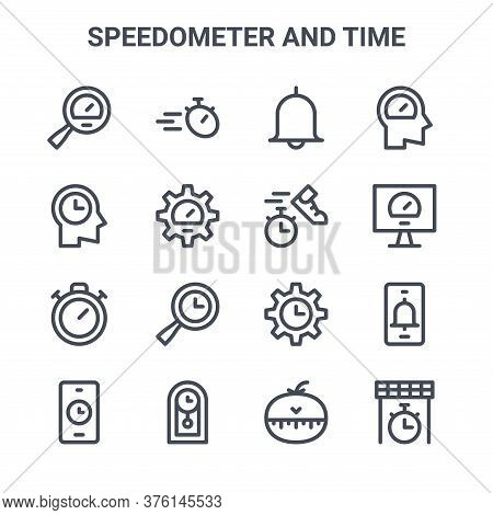 Set Of 16 Speedometer And Time Concept Vector Line Icons. 64x64 Thin Stroke Icons Such As Stopwatch,