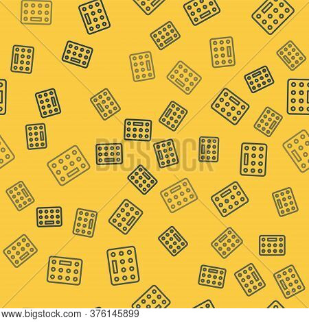 Blue Line Pills In Blister Pack Icon Isolated Seamless Pattern On Yellow Background. Medical Drug Pa