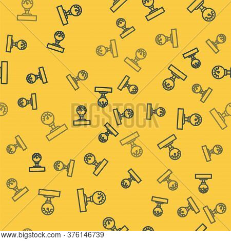 Blue Line Gauge Scale Icon Isolated Seamless Pattern On Yellow Background. Satisfaction, Temperature