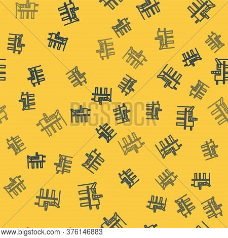 Blue Line Oil Platform In The Sea Icon Isolated Seamless Pattern On Yellow Background. Drilling Rig