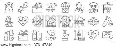 Kindness Line Icons. Linear Set. Quality Vector Line Set Such As Payment, No, Heart, Volunteer, Team