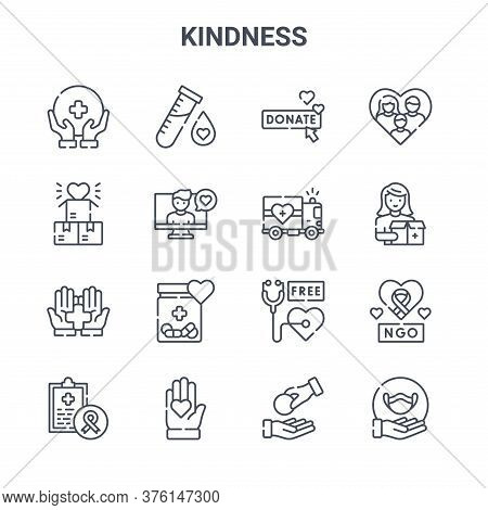 Set Of 16 Kindness Concept Vector Line Icons. 64x64 Thin Stroke Icons Such As Test Tube, Donation, D