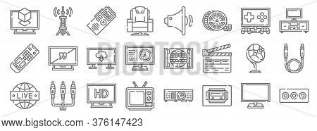 Television Line Icons. Linear Set. Quality Vector Line Set Such As Av Cable, Usb Port, Old, Programm