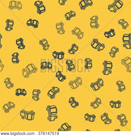 Blue Line Tanker Truck Icon Isolated Seamless Pattern On Yellow Background. Petroleum Tanker, Petrol