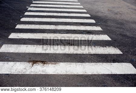 Zebra Crosswalk On The Road For Safety When People Walking Cross The Street. Crosswalk.