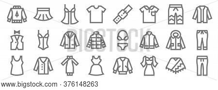 Clothes Line Icons. Linear Set. Quality Vector Line Set Such As Pants, Dress, Dress, Singlet, Jacket
