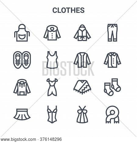 Set Of 16 Clothes Concept Vector Line Icons. 64x64 Thin Stroke Icons Such As Coat, Sneakers, Jacket,