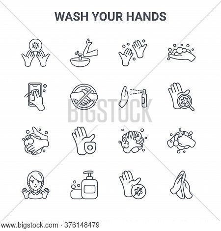Set Of 16 Wash Your Hands Concept Vector Line Icons. 64x64 Thin Stroke Icons Such As Sink, Cleaning,
