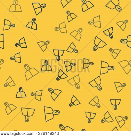 Blue Line Anonymous Man With Question Mark Icon Isolated Seamless Pattern On Yellow Background. Unkn